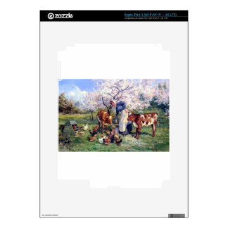 Girl Feeding Farm Animals Painting Decals For iPad 3