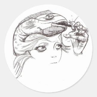 Girl Feeding Head Fish Classic Round Sticker