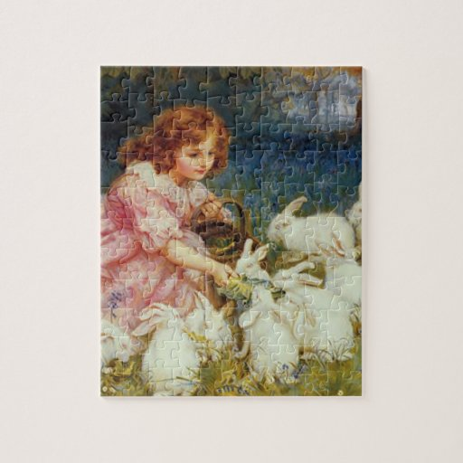 Girl feeding rabbites puzzles