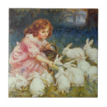 Girl feeding rabbites small square tile