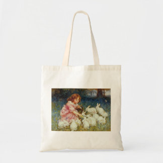 Girl feeding Rabbits Budget Tote Bag