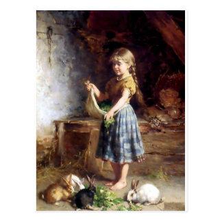 Girl feeding Rabbits Bunnies painting Postcard