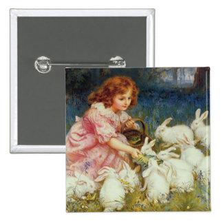 Girl feeding Rabbits Button