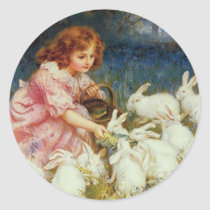 Girl feeding Rabbits Classic Round Sticker