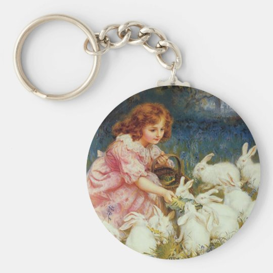 Girl feeding Rabbits Keychain