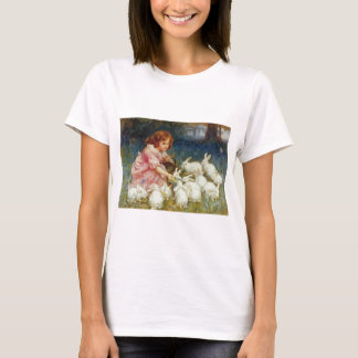Girl feeding Rabbits T-Shirt