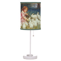 Girl feeding rabbits table lamp