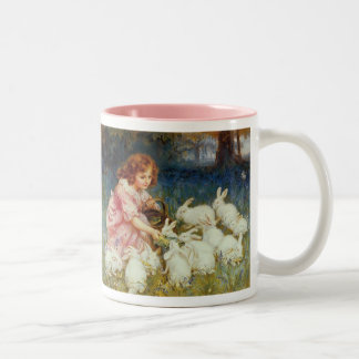 Girl feeding Rabbits Two-Tone Coffee Mug
