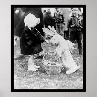 Girl Feeding the Easter Bunny 1929 Poster