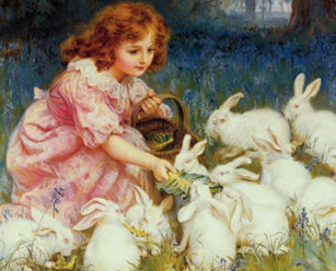 Girl feeding white rabbits jelly belly candy tin
