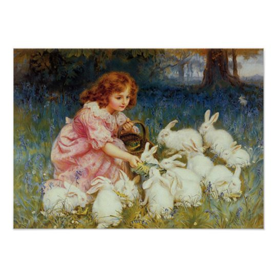 Girl Feeding White Rabbits Poster Zazzle Com