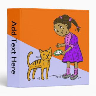 Girl Feeds Cat Vinyl Binder