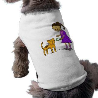 Girl Feeds Cat Doggie Tee