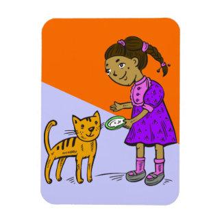 Girl Feeds Cat Magnet
