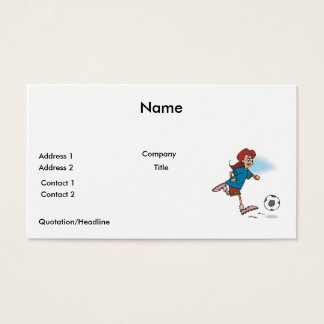 girl female playing soccer graphic business card