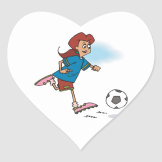 girl female playing soccer graphic heart sticker