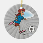 girl female playing soccer graphic ornaments