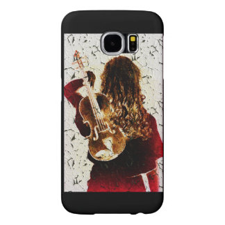 Girl Fiddle Violin Instrument Music Crackled Samsung Galaxy S6 Case