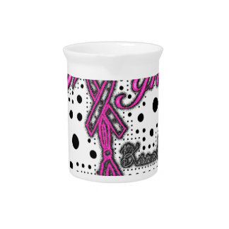 Girl Fight with ribbon and boxing gloves art Beverage Pitcher
