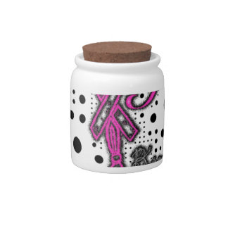 Girl Fight with ribbon and boxing gloves art Candy Jar