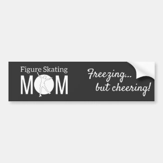 Girl figure skater Mom black and white Bumper Sticker