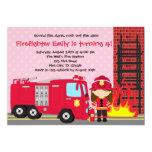Girl Firefighter Birthday Invitation Fireman Truck