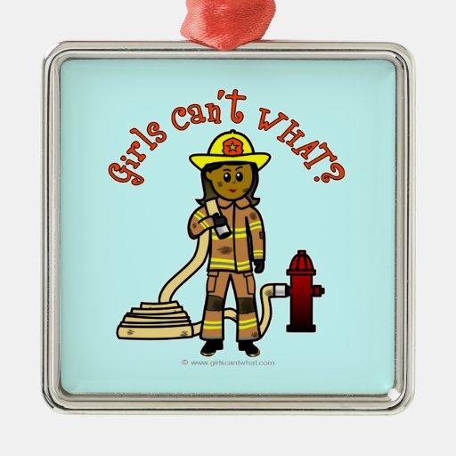 Girl Firefighter Christmas Ornaments