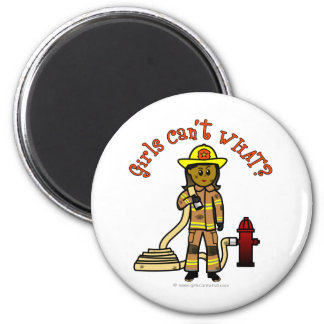 Girl Firefighter 2 Inch Round Magnet