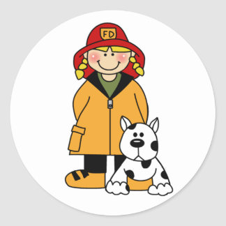 Girl Firefighter with Dalmation Stickers