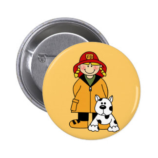 Girl Firefighter With Dalmation Tshirts and Gifts 2 Inch Round Button