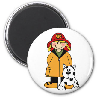 Girl Firefighter With Dalmation Tshirts and Gifts 2 Inch Round Magnet