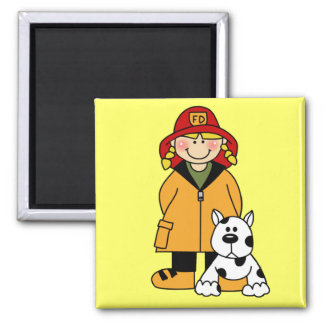 Girl Firefighter With Dalmation Tshirts and Gifts 2 Inch Square Magnet