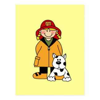 Girl Firefighter With Dalmation Tshirts and Gifts Postcard