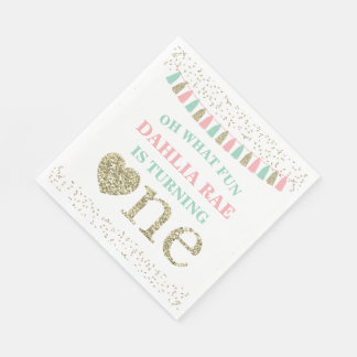 Girl First Birthday Party Napkins Pink Mint Gold