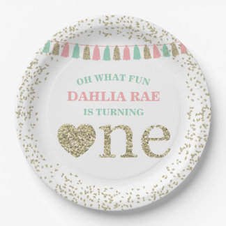 Girl First Birthday Party Plates Pink Mint Gold