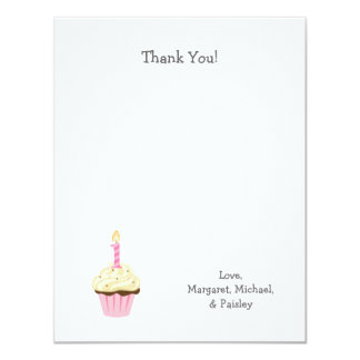 Girl First Birthday thank you notes / one cupcake Card