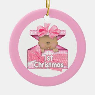 Girl First Christmas 2 Ceramic Ornament