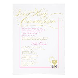 Girl First Communion Invitation - Pink