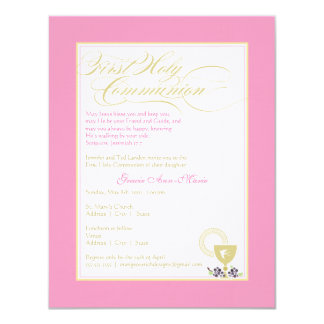 "Girl First Communion Invitation - Pink 4.25"" X 5.5"" Invitation Card"