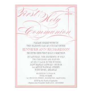Girl First Communion Invitation - Pink & Modern