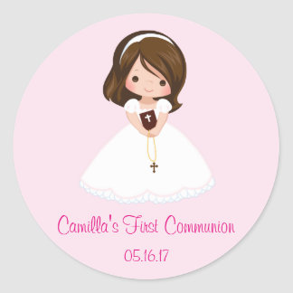 Girl First Communion Stickers Envelope Seals
