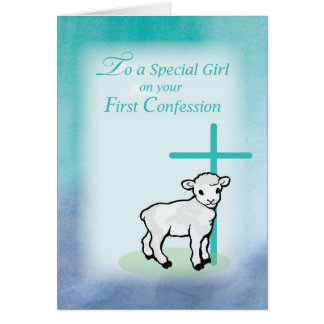 Girl First Confession, Lamb, Cross, on Teal Card