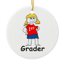 Girl First Grader Ceramic Ornament