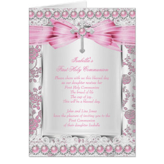 Girl First Holy Communion Cross Damask Pink Silver Greeting Card