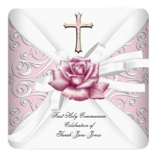 Girl First Holy Communion Damask Pink Rose White 2 Card