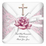 Girl First Holy Communion Damask Pink Rose White 2 Invitation