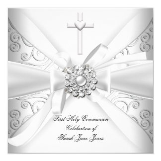 Girl First Holy Communion Damask White Silver 5.25x5.25 Square Paper Invitation Card