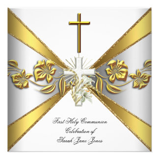 Girl First Holy Communion Gold White Floral 2 Invitations