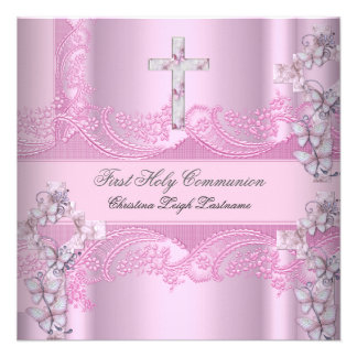 Girl First Holy Communion Lace Pink Invitations