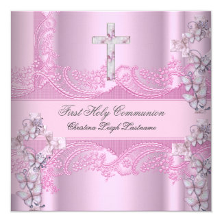 Girl First Holy Communion Lace Pink 5.25x5.25 Square Paper Invitation Card